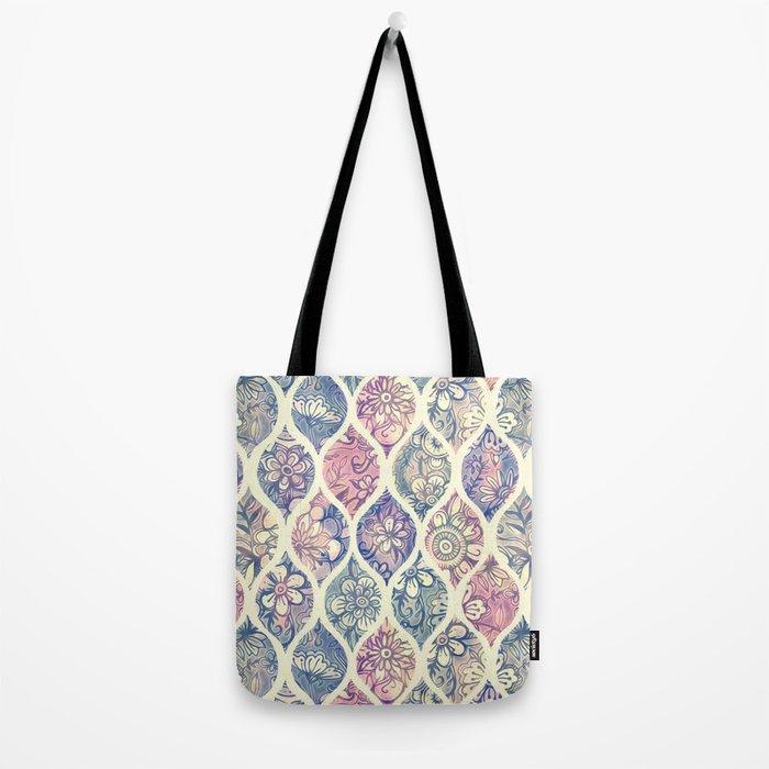 Patterned & Painted Floral Ogee in Vintage Tones Tote Bag