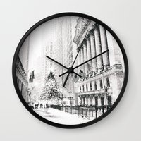 new york city Wall Clocks featuring New York City Christmas by Vivienne Gucwa