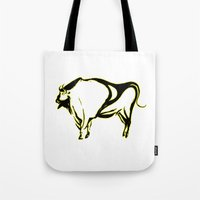 bison Tote Bags featuring Bison  by Anna's Artwork