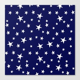 Stars - White on Navy Blue Canvas Print