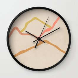 Mid century lines abstract art Art Print Wall Clock