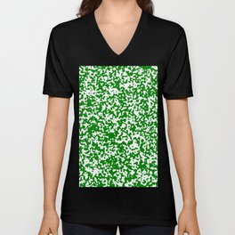 Small Spots - White and Green Unisex V-Neck