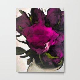 Vase of Roses with Shadows 2 Metal Print