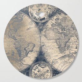 Antique World Map White Gold Navy Blue by Nature Magick Cutting Board