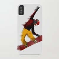 snowboarding iPhone & iPod Cases featuring Snowboarding by Boehm Graphics