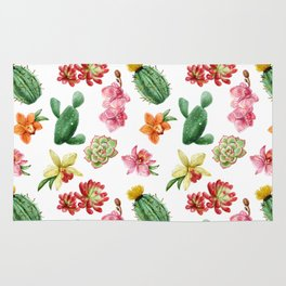Watercolor Cactus on white background Rug