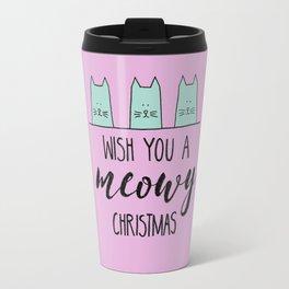 Meowy Christmas Pink Travel Mug