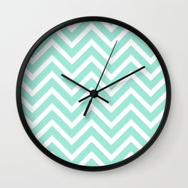 Chevron Stripes : Seafoam Green & White Wall Clock