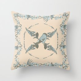 botanical bird, fruits and plants powder blue and grey peach Throw Pillow