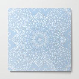 Baby Blue Boho Mandala Metal Print