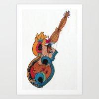 woman guitar Art Print