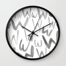 Watercolor W's - Grey Gray Wall Clock