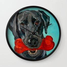 Ozzie the Black Labrador Retriever Wall Clock