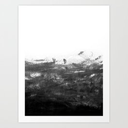 Durand - black and white minimal painting india ink brushstrokes abstract art canvas for home decor Art Print