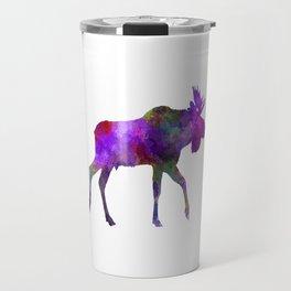 Moose 01 in watercolor Travel Mug