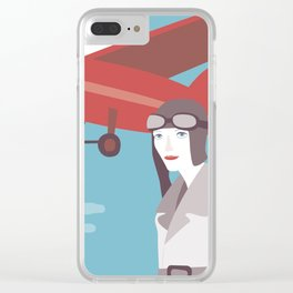 Amelia Earhart Clear iPhone Case