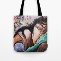 alone Tote Bags featuring Alone by Amy V
