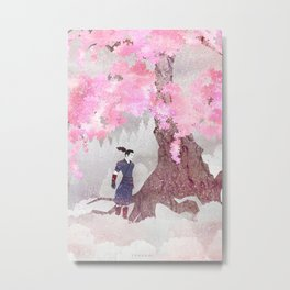 Tengami - Winter Cherry Tree (Portrait) Metal Print