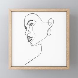Woman looking into the distance one line design Framed Mini Art Print