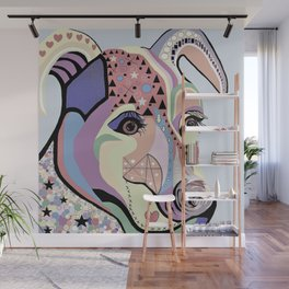 Jack Russell Terrier in Denim Colors Wall Mural