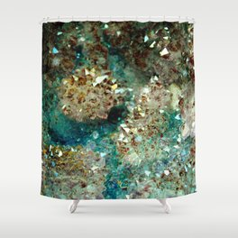 SPARKLING GOLD AND TURQUOISE CRYSTAL Shower Curtain