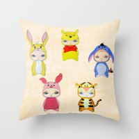 tigger Throw Pillows featuring A Boy - Winnie and friends by Christophe Chiozzi