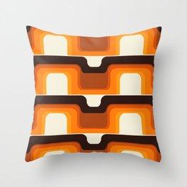 Mid-Century Modern Meets 1970s Orange Throw Pillow