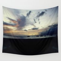 ships Wall Tapestries featuring Ships In The Night by J&C Creations