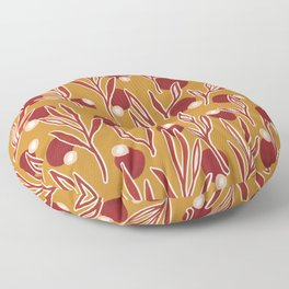 Red and Ochre Botanical Floor Pillow
