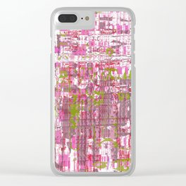 Glassy effects on pink, green and white texture Clear iPhone Case