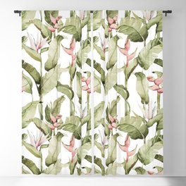 Watercolor Tropical Leaves Bird of Paradise -033 Blackout Curtain
