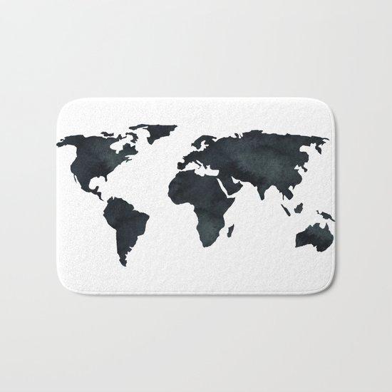 World Map Black Watercolor Ink Bath Mat
