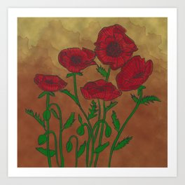 Vintage Poppies Art Print