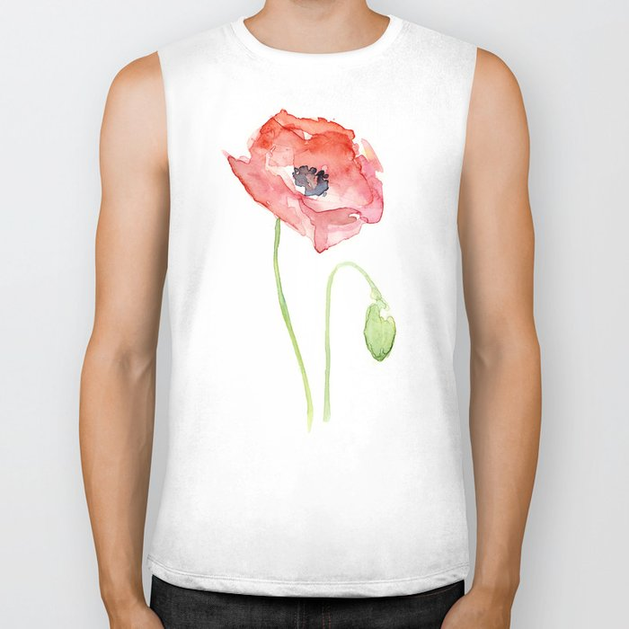 Red Poppy Watercolor Flower Floral Abstract Biker Tank