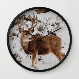 Snow stag Wall Clock