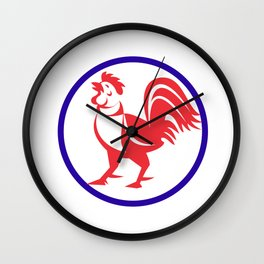 Chicken Rooster Crowing Circle Retro Wall Clock