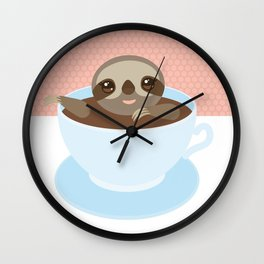 Sloth in a blue cup coffee, tea, Three-toed slot Wall Clock