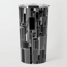 Tall city B&W inverted / Lineart city pattern Travel Mug