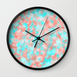 Artsy Modern Summer Coral Orange Aqua Abstract Wall Clock