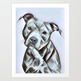 Pit Bull lover, a portrait of a beautiful pit bull puppy Art Print
