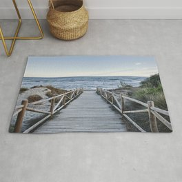 """""""Walking to the beach....."""" At sunset Rug"""