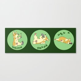 Drink, Drank, Dunk - Corgi Canvas Print