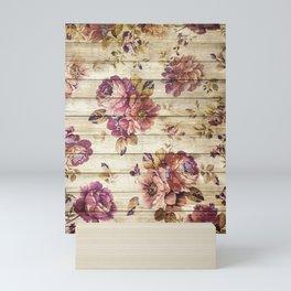 Rustic Vintage Country Floral Wood Romantic Mini Art Print
