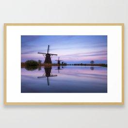 Kinderdijk blue hour Framed Art Print