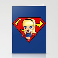 supergirl Stationery Cards featuring Chibi Supergirl by artwaste