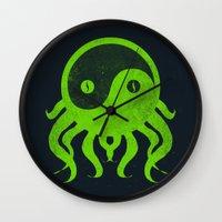 cthulu Wall Clocks featuring yin yang cthulu by frederic levy-hadida