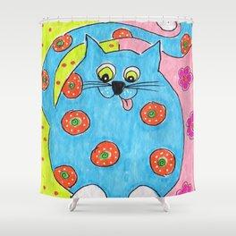 Blue Fat cat Shower Curtain
