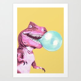 Bubble Gum Pink T-rex in Yellow Art Print