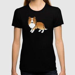 Sable Shetland Sheepdog Dog Cartoon Illustration T-shirt