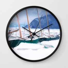 Clarence Gagnon - Schooners in Ice Floes - Canada, Canadian Oil Painting - Group of Seven Wall Clock